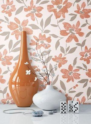 Tapete Vlies Braun Creme Grau Blumen Muster Dekoration