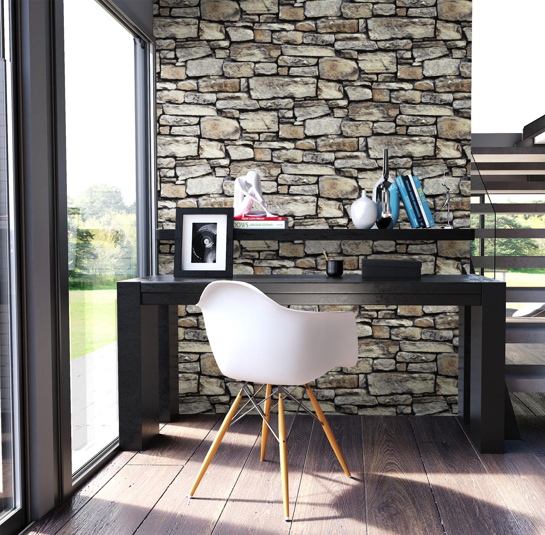 newroom steintapete papiertapete grau mauer stein modern braun loft 3d ebay. Black Bedroom Furniture Sets. Home Design Ideas