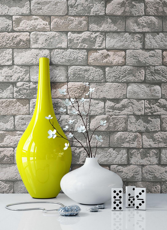 NEWROOM Steintapete Papiertapete Creme,Weiß Mauer Stein Jung Creme,Weiß Modern 3