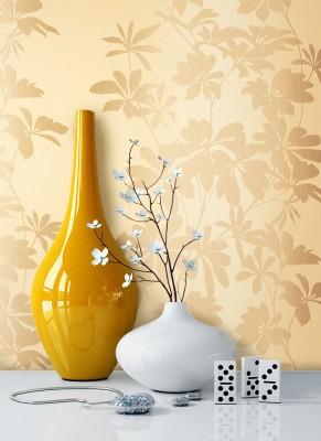 Tapete Beige Braun Blumen Muster Deko