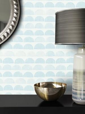 Tapete Blau Grau Grafik Muster Deko
