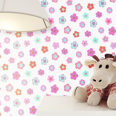 Kindertapete Rosa Blümchen