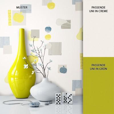 Tapete Vlies Gelb Apfel Birne Muster Dekoration