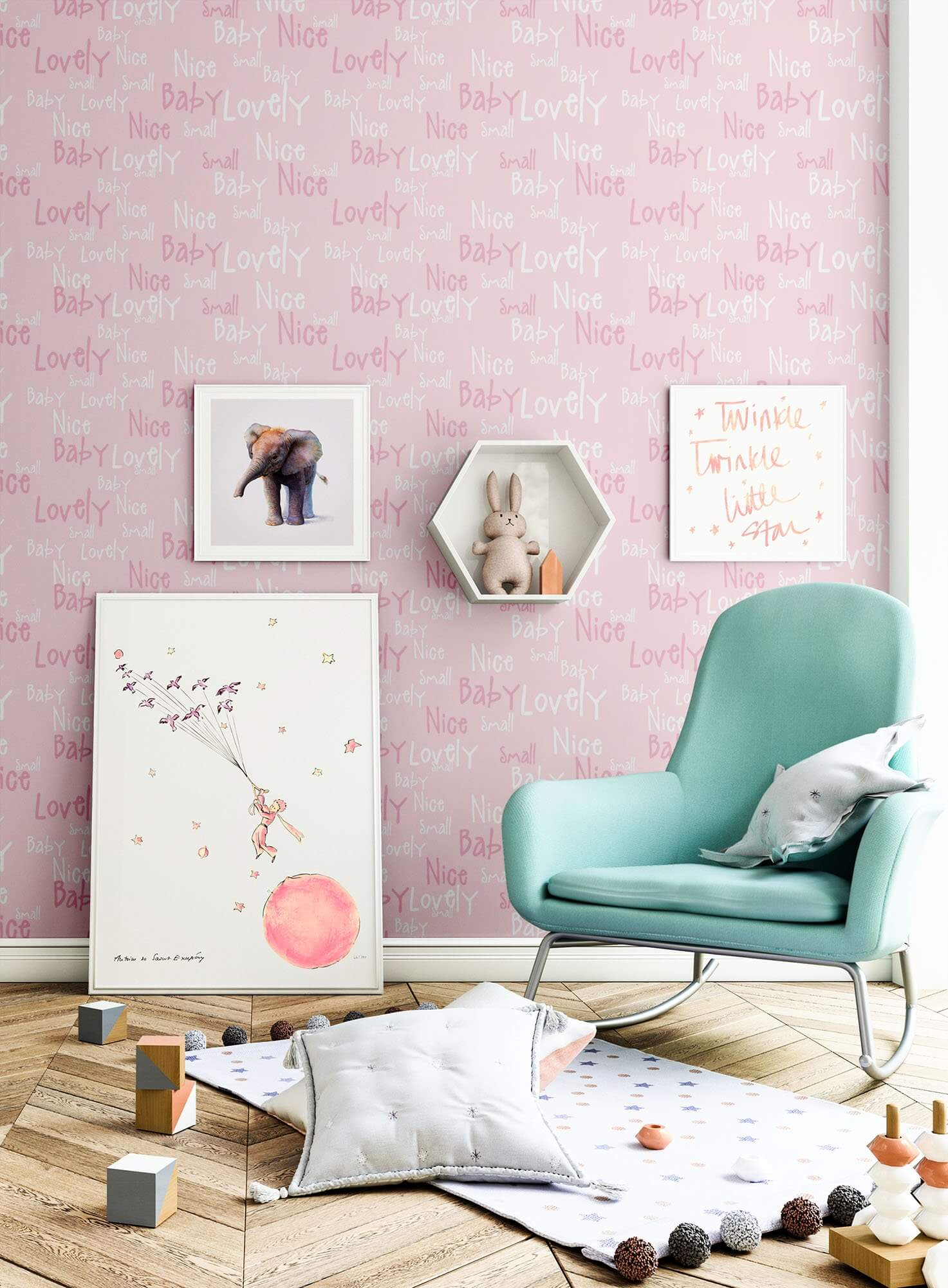 vliestapete rosa kinder schrift kinderzimmer. Black Bedroom Furniture Sets. Home Design Ideas