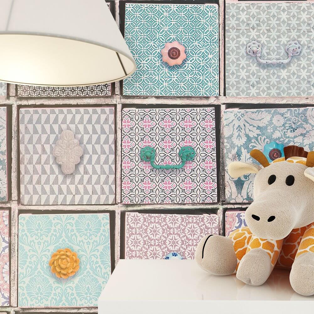 papiertapete rosa m dchen schubladen wohnen kinder schlafen k che diele newroom. Black Bedroom Furniture Sets. Home Design Ideas