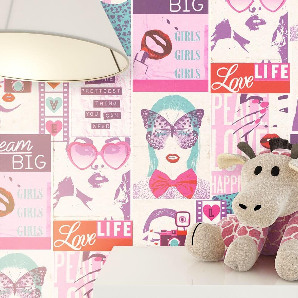 papiertapete rosa m dchen wohnen kinder newroom. Black Bedroom Furniture Sets. Home Design Ideas