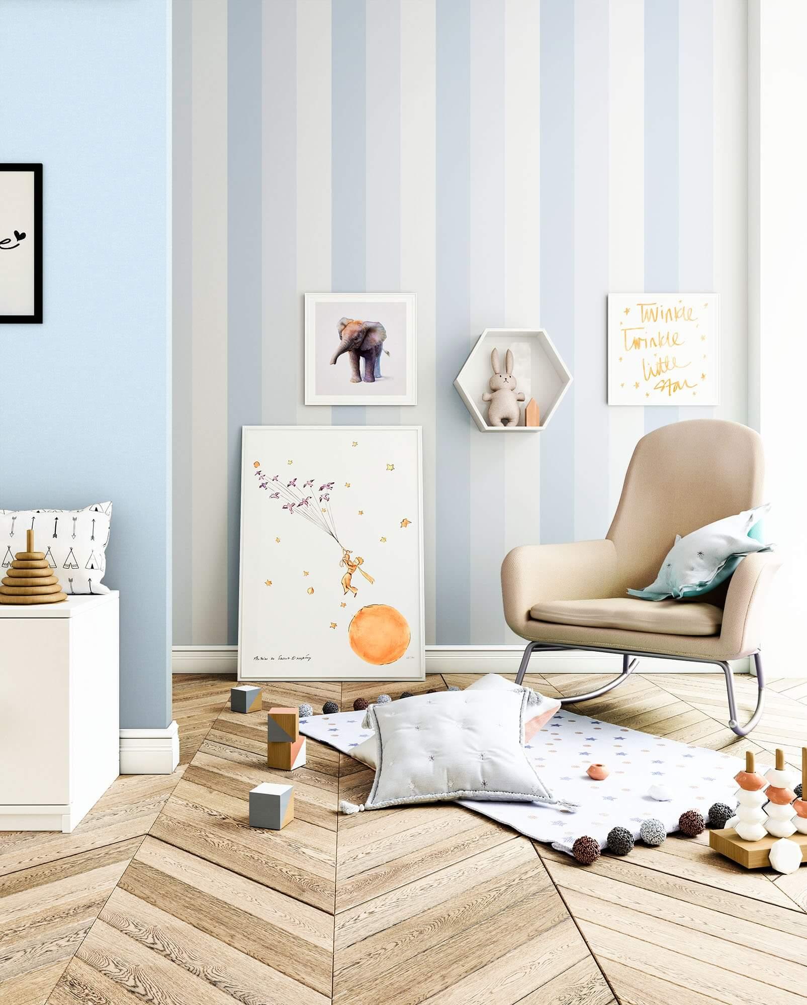 Papiertapete Blau Kinder Streifen Kinder Newroom