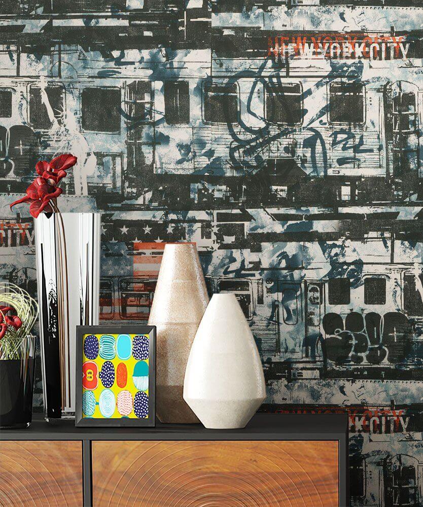 papiertapete schwarz urban graffiti kinder newroom. Black Bedroom Furniture Sets. Home Design Ideas