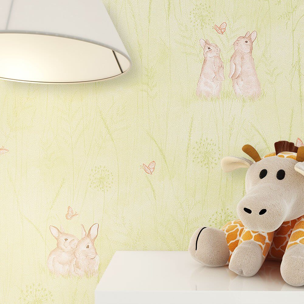 tapeten kinderzimmer gr n. Black Bedroom Furniture Sets. Home Design Ideas