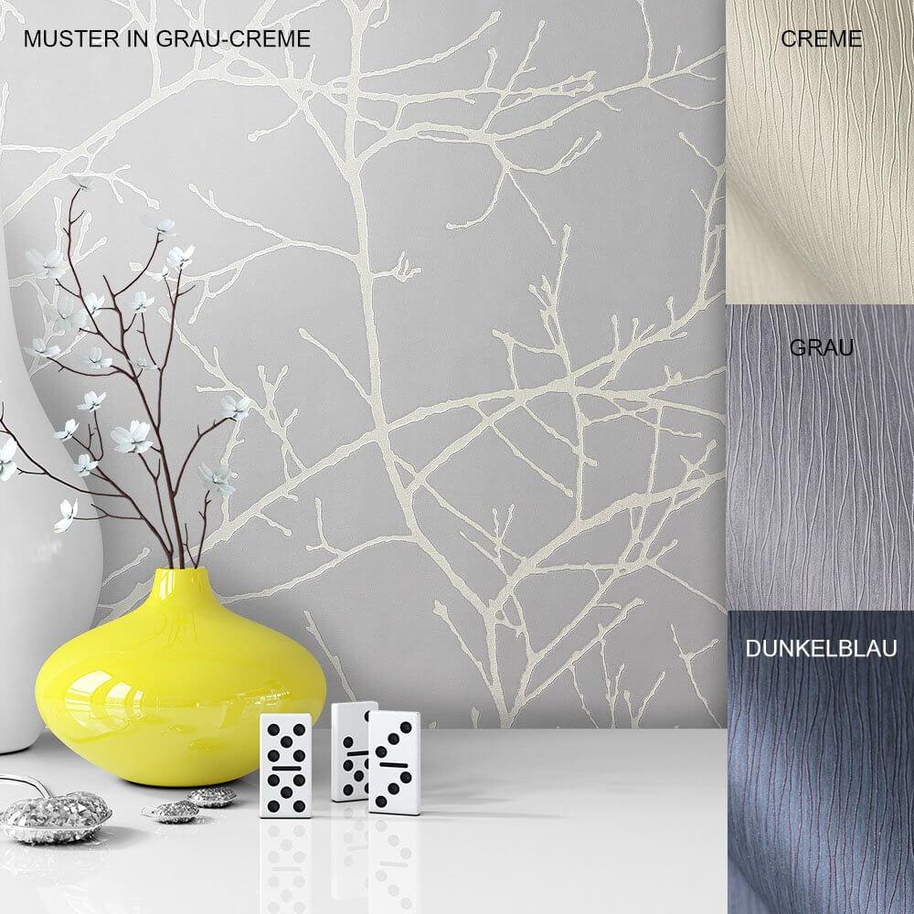 Tapete Vase Deko Vlies Vinyl Grau Creme Blau