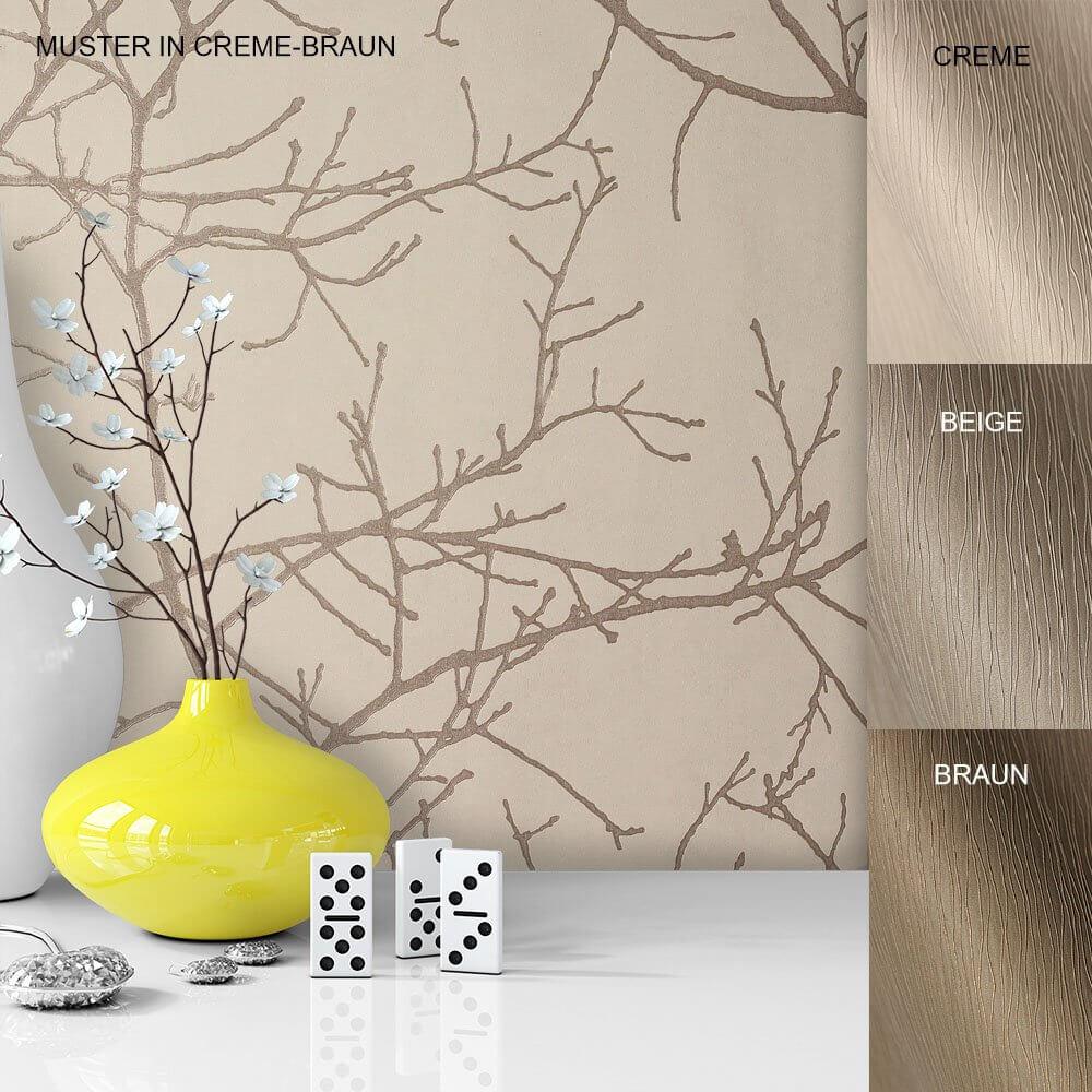 Hervorragend ... Tapete Vase Deko Vlies Vinyl Creme Beige Braun ...