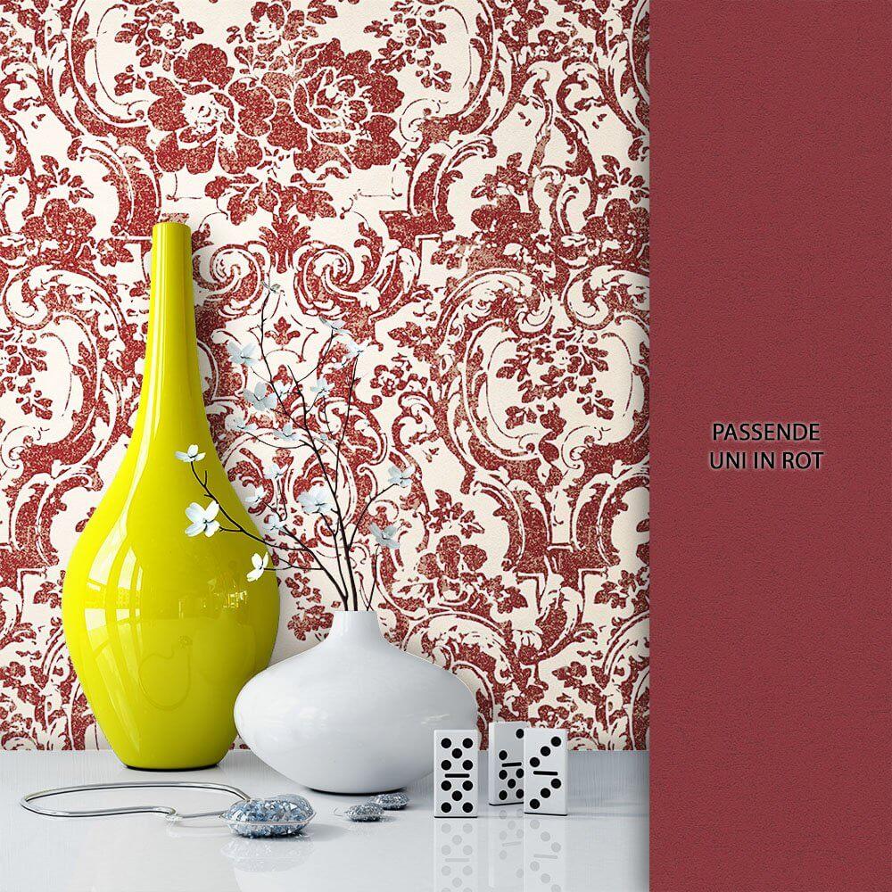 tapete vlies blumen barock rot dekoration - Tapete Rot Muster
