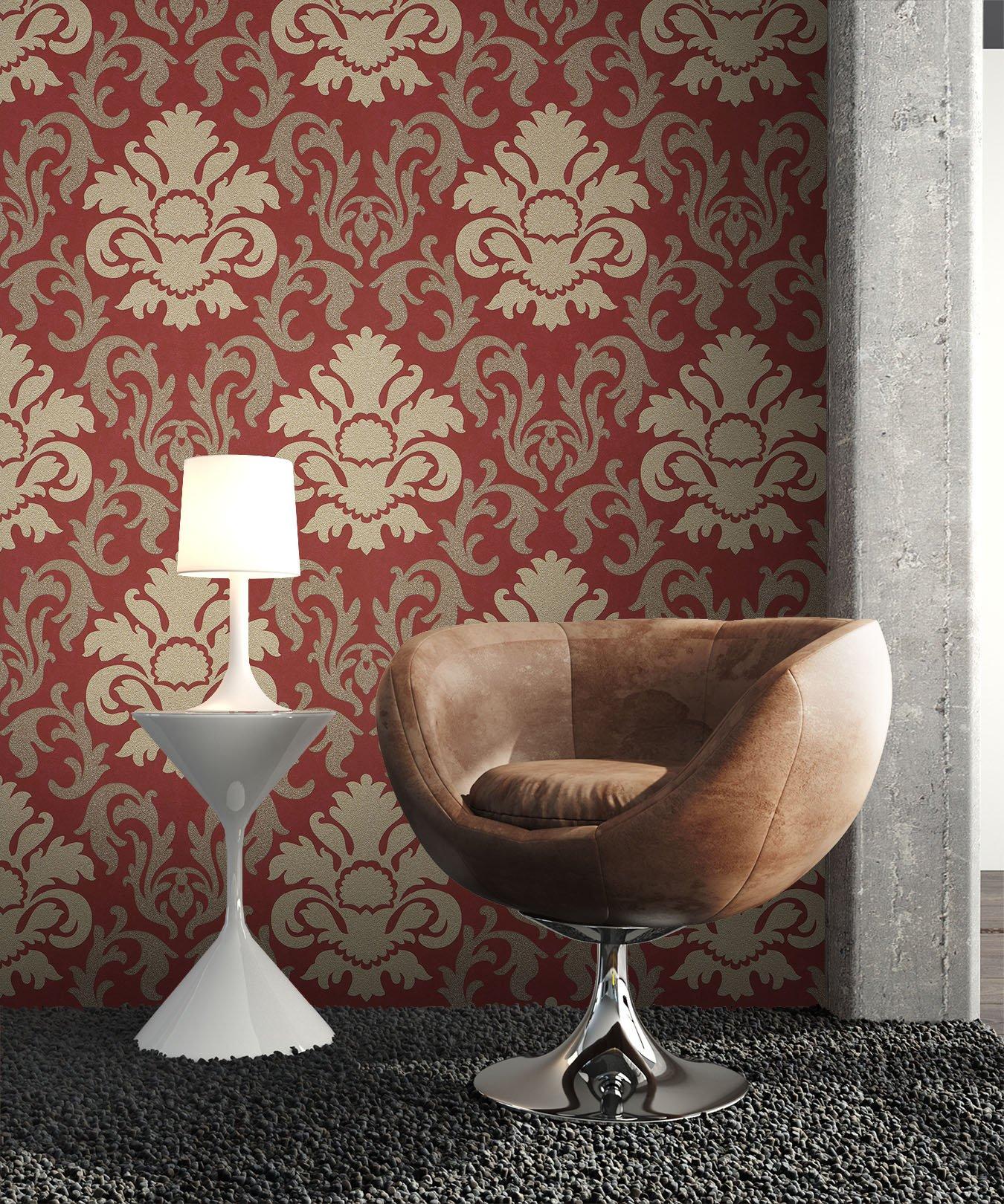 vliestapete rot deco muster barock newroom. Black Bedroom Furniture Sets. Home Design Ideas