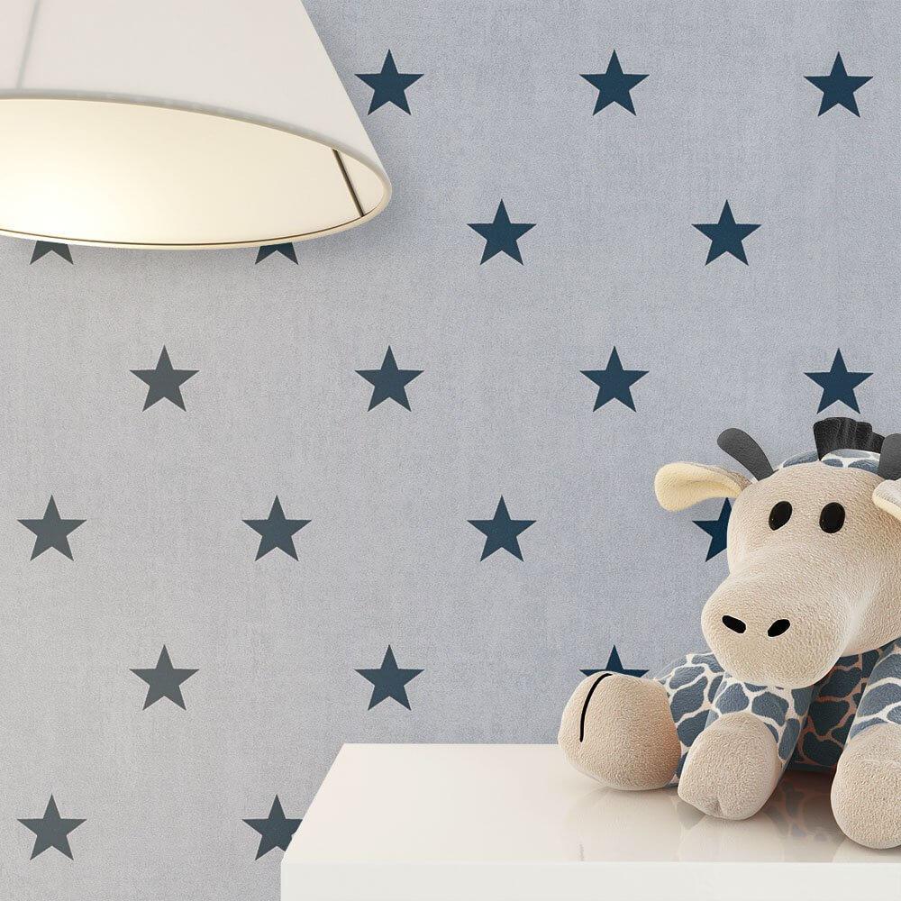 papiertapete grau kinder sterne kinder schlafen newroom. Black Bedroom Furniture Sets. Home Design Ideas