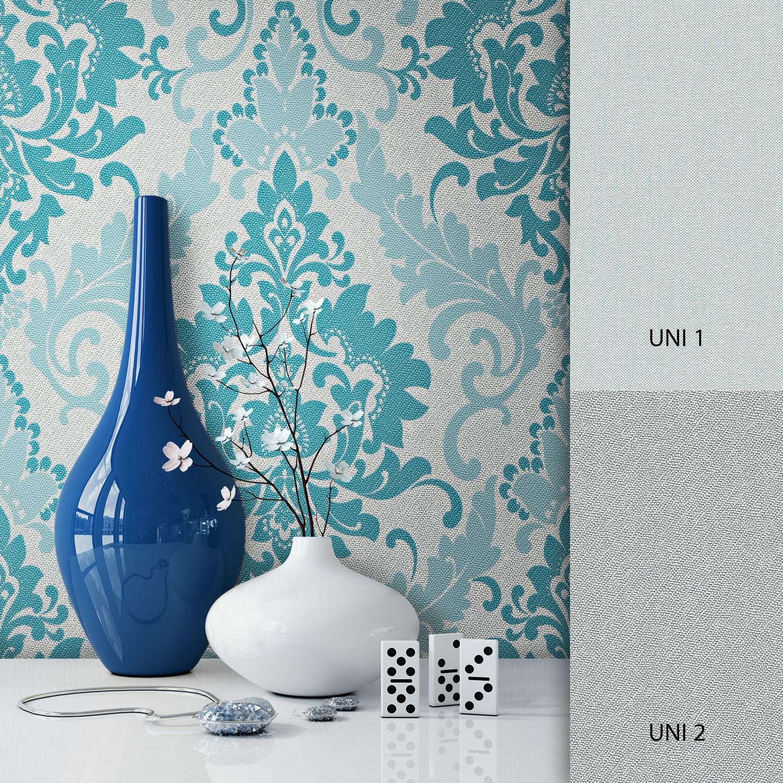 Vliestapete Turkis Deco Muster Barok Newroom