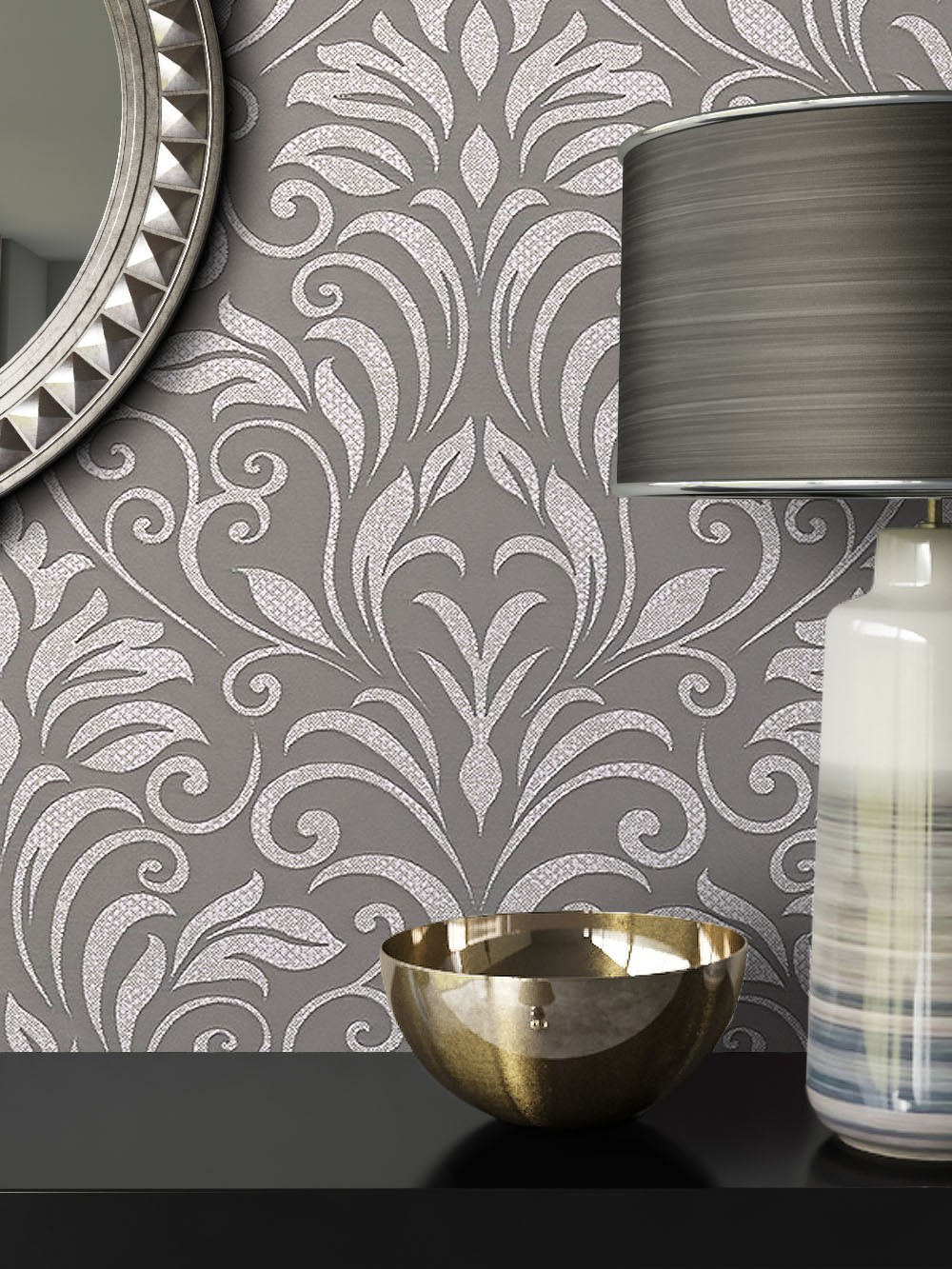 Vliestapete Grau Barock Ornament Diele Flur Schlafen Wohnen Newroom