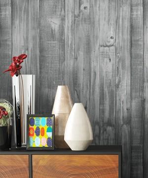 Tapete Vlies Schwarz Holz Optik Dekoration