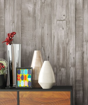 Tapete Vlies Grau Holz Optik Dekoration