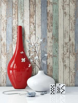 Tapete Holztapete Holz Vase