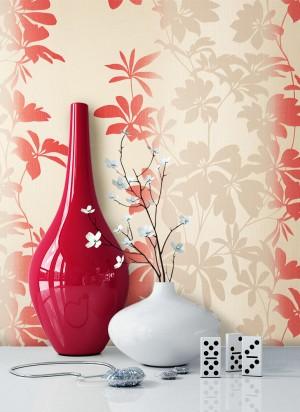 Tapete Rot Creme Blumen Muster Deko