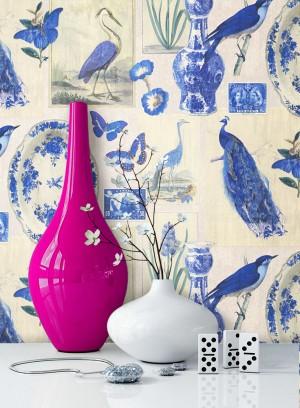 Tapete Vintage Deko Blau Vögel