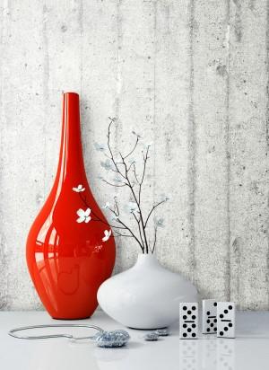 Vliestapete Beton Grau Vase