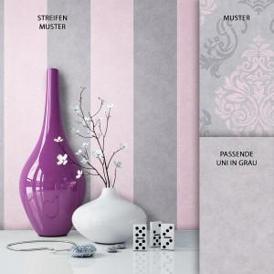 Tapete Vlies Grau Rosa Streifen Dekoration