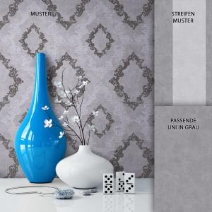 Tapete Vlies Grau Barock Muster Dekoration