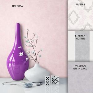 Tapete Vlies Uni Rosa Dekoration