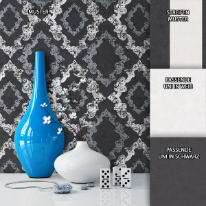 Tapete Vlies Barock Schwarz Weiß Muster Dekoration
