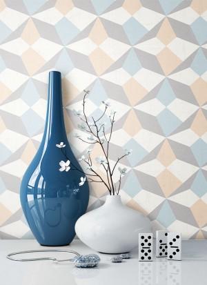 Tapete Blau Beige Grafik Muster Deko