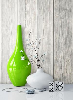 Tapete Holztapete Vase Grau