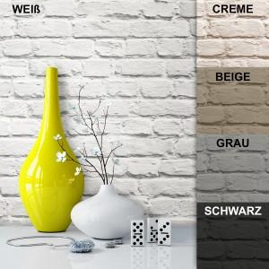 Tapete Vlies Deko Stein Mauer Weiß Creme Beige Braun Grau Schwarz