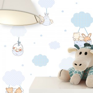 Kindertapete Blau Wolken Hase Bärchen