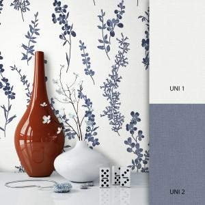 Blumetapete Weiß Blau