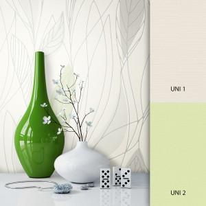 Blumen/Pflanzentapete weiß grün