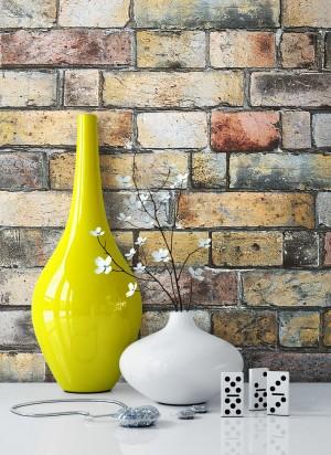 Steintapete Vlies Bunt Rustikal Vase