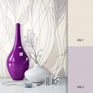 Blumen/Pflanzentapete weiß lila