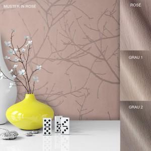 Tapete Vase Deko Vlies Vinyl Rose Rosa Grau Braun