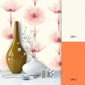 Blumentapete Weiß Orange