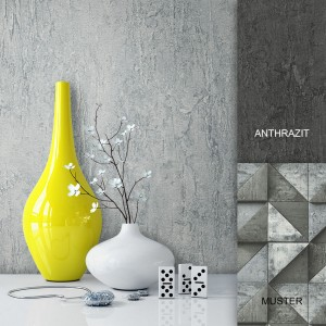 Tapete Stein Beton Uni Grau Vlies Vase