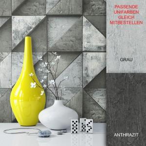 Tapete Stein Beton Grafik Schwarz Anthrazit Vlies Vase