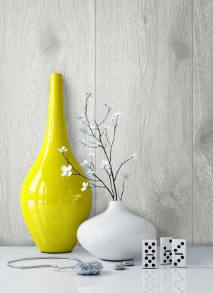 Holztapete Vlies Grau Vase
