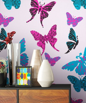 Tapete Schmetterlinge Dekoration Pink Rosa Lila Türkis