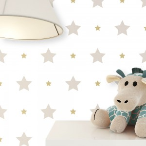Kindertapete Beige Weiß Stern