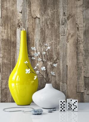 Vliestapete Holz Braun Vase