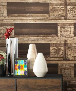 Tapete Holz Paletten Optik Dekoration