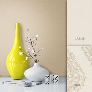 Tapete Vlies Beige Creme Uni Barock Vase