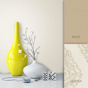 Tapete Beige Creme Vlies Uni Barock Vase