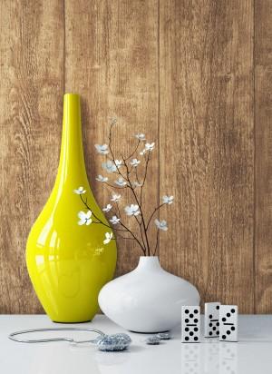Holztapete Vlies Braun Vase